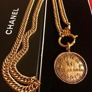 Auth CHANEL-CC Medallion Gold Plated ChainNecklace